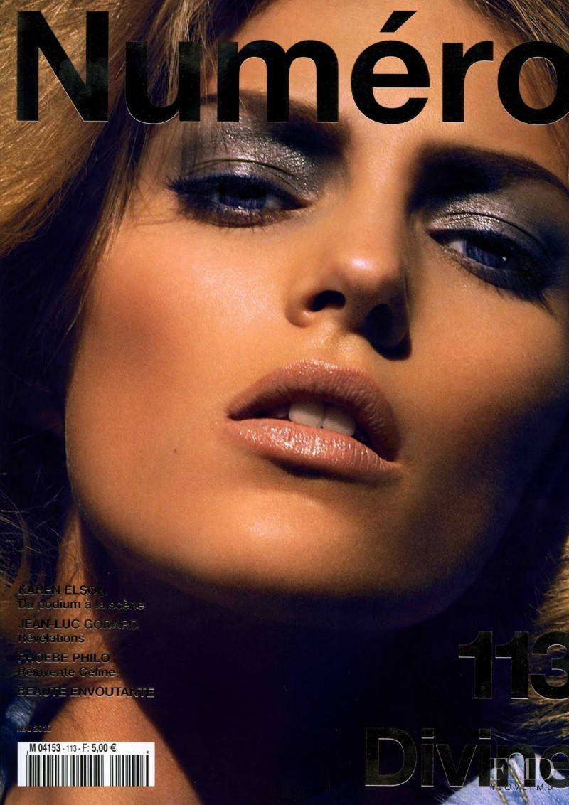 Anja Rubik featured on the Numéro France cover from May 2010