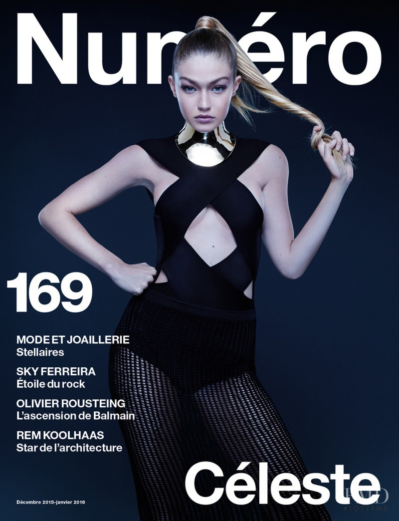Gigi Hadid featured on the Numéro France cover from December 2015
