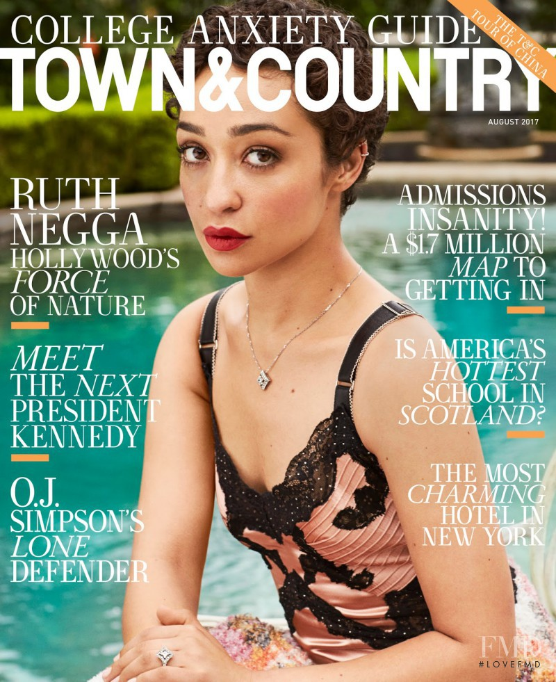 Ruth Negga featured on the Town & Country cover from August 2017