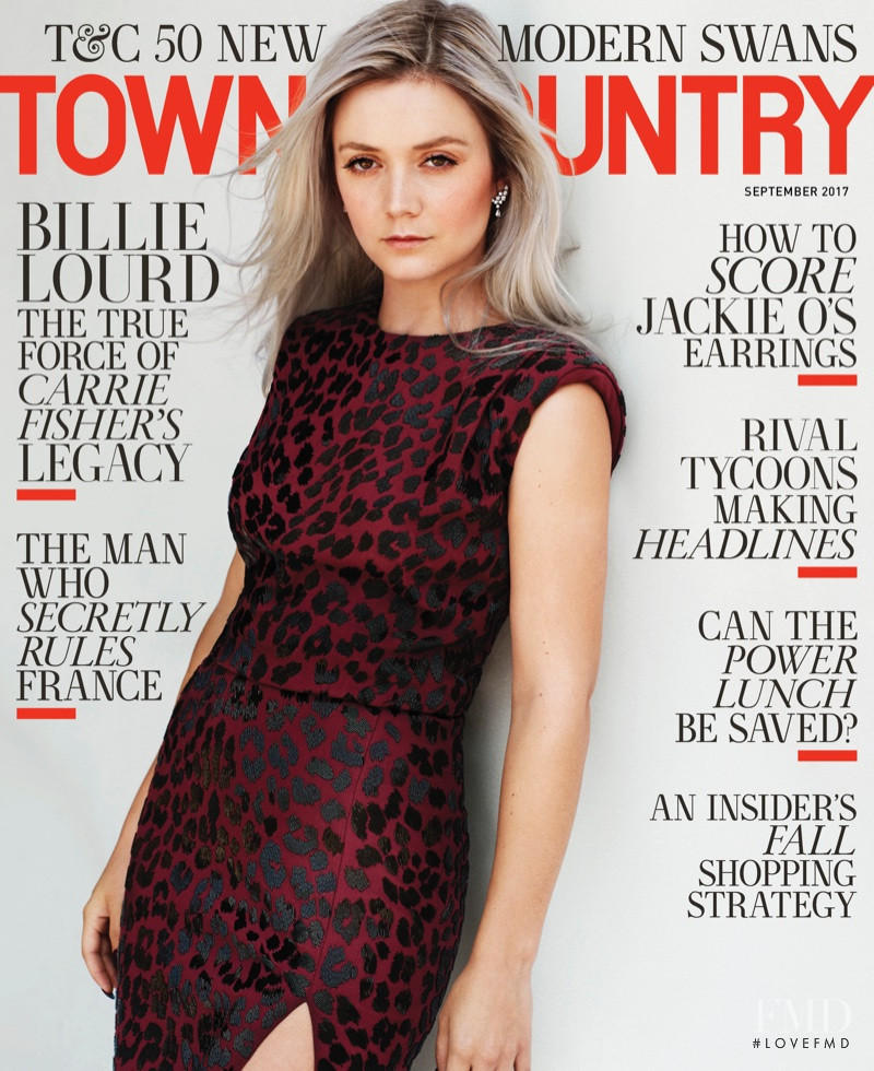 Billie Lourd featured on the Town & Country cover from September 2017