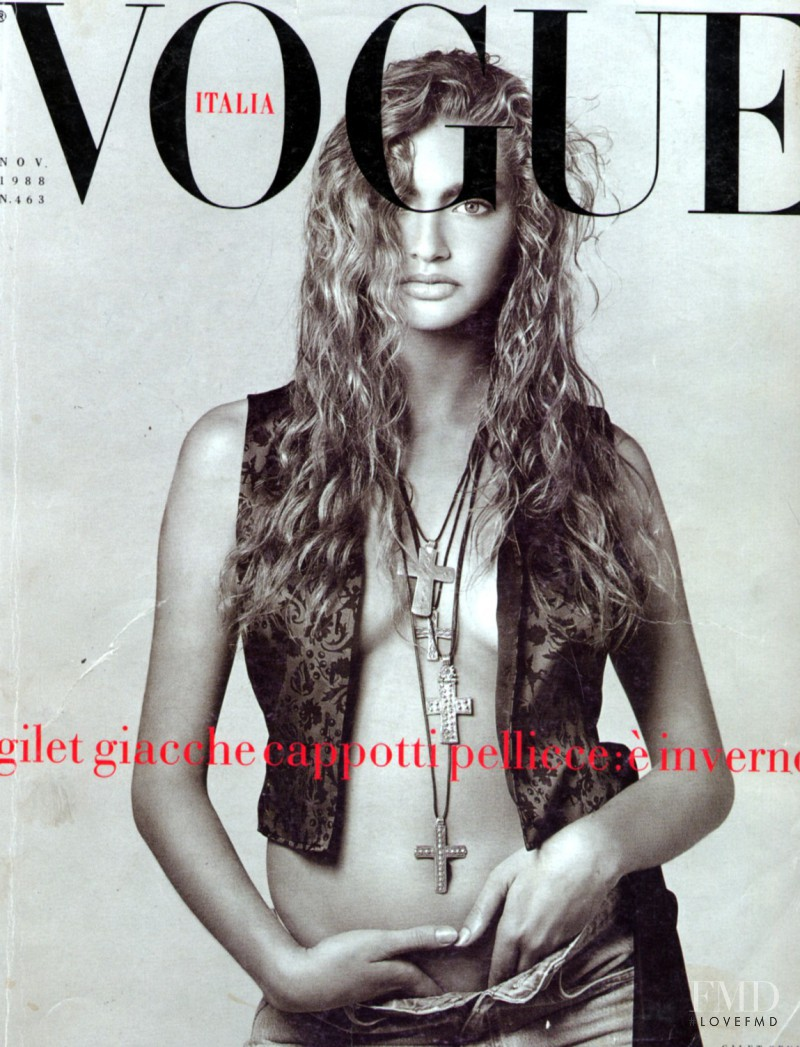 Michaela Bercu featured on the Vogue Italy cover from November 1988