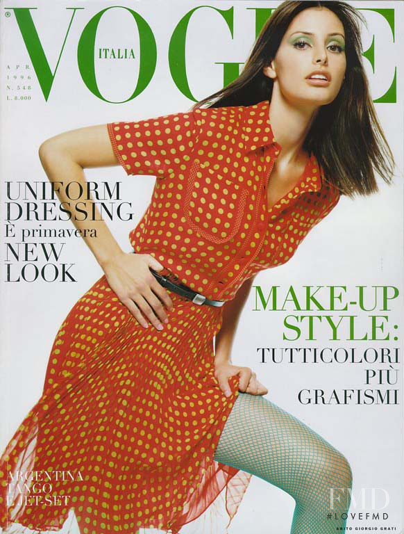 Elsa Benitez featured on the Vogue Italy cover from April 1996