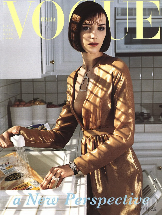 Hannelore Knuts featured on the Vogue Italy cover from July 2000