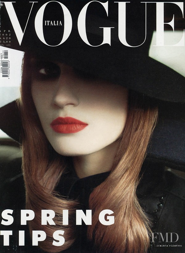 Eugenia Volodina featured on the Vogue Italy cover from April 2002