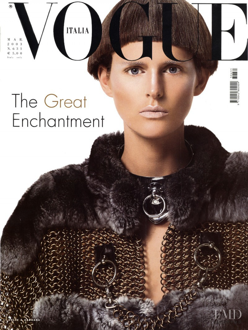 Stella Tennant featured on the Vogue Italy cover from March 2003