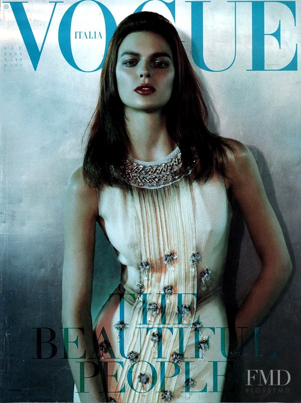 Elise Crombez featured on the Vogue Italy cover from September 2004