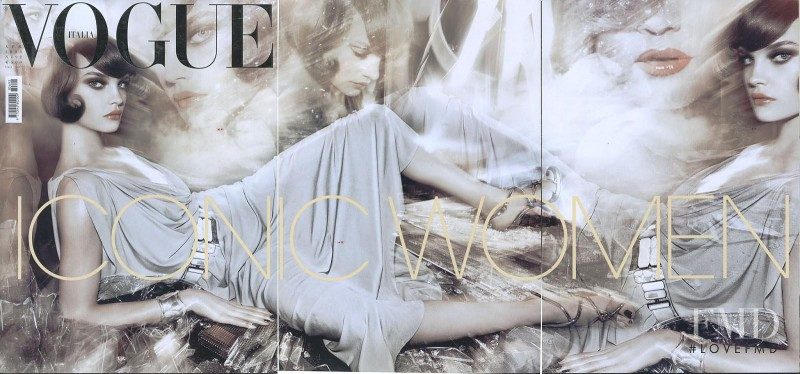 Natalia Vodianova featured on the Vogue Italy cover from April 2008