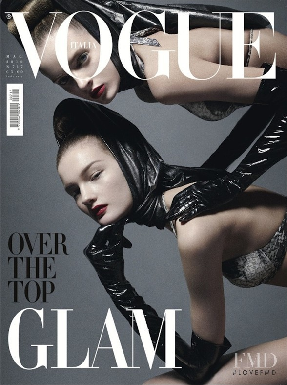Daria Strokous, Kirsi Pyrhonen featured on the Vogue Italy cover from May 2010
