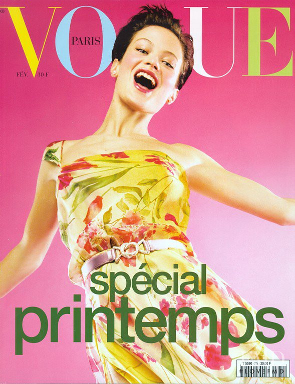 Carolyn Murphy featured on the Vogue Paris cover from February 1997