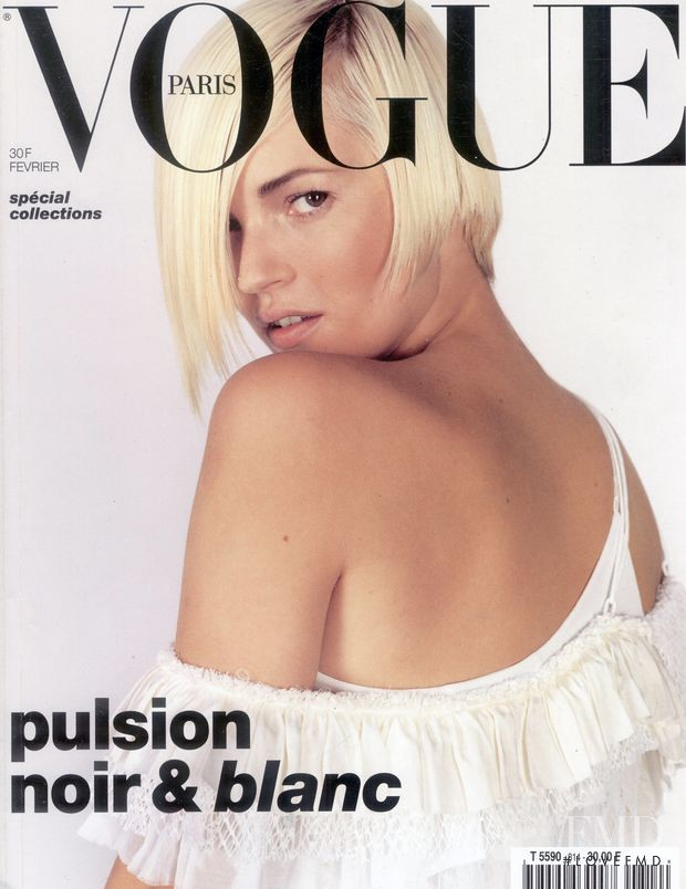 Kate Moss featured on the Vogue Paris cover from February 2001