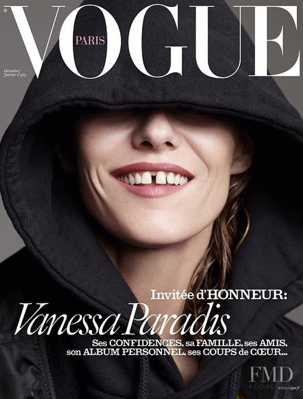 Vanessa Paradis featured on the Vogue Paris cover from December 2015