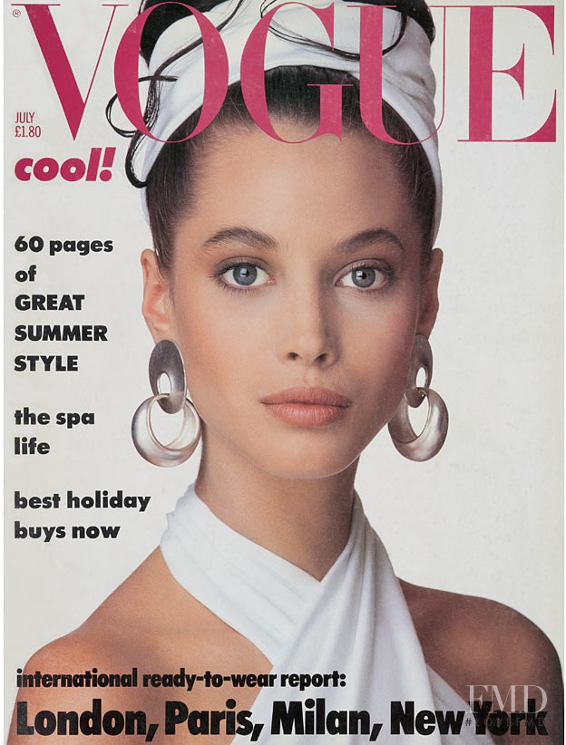 Christy Turlington featured on the Vogue UK cover from July 1986
