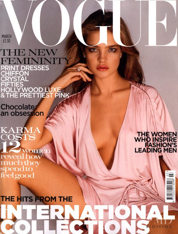 Natalia Vodianova featured on the Vogue UK cover from March 2004