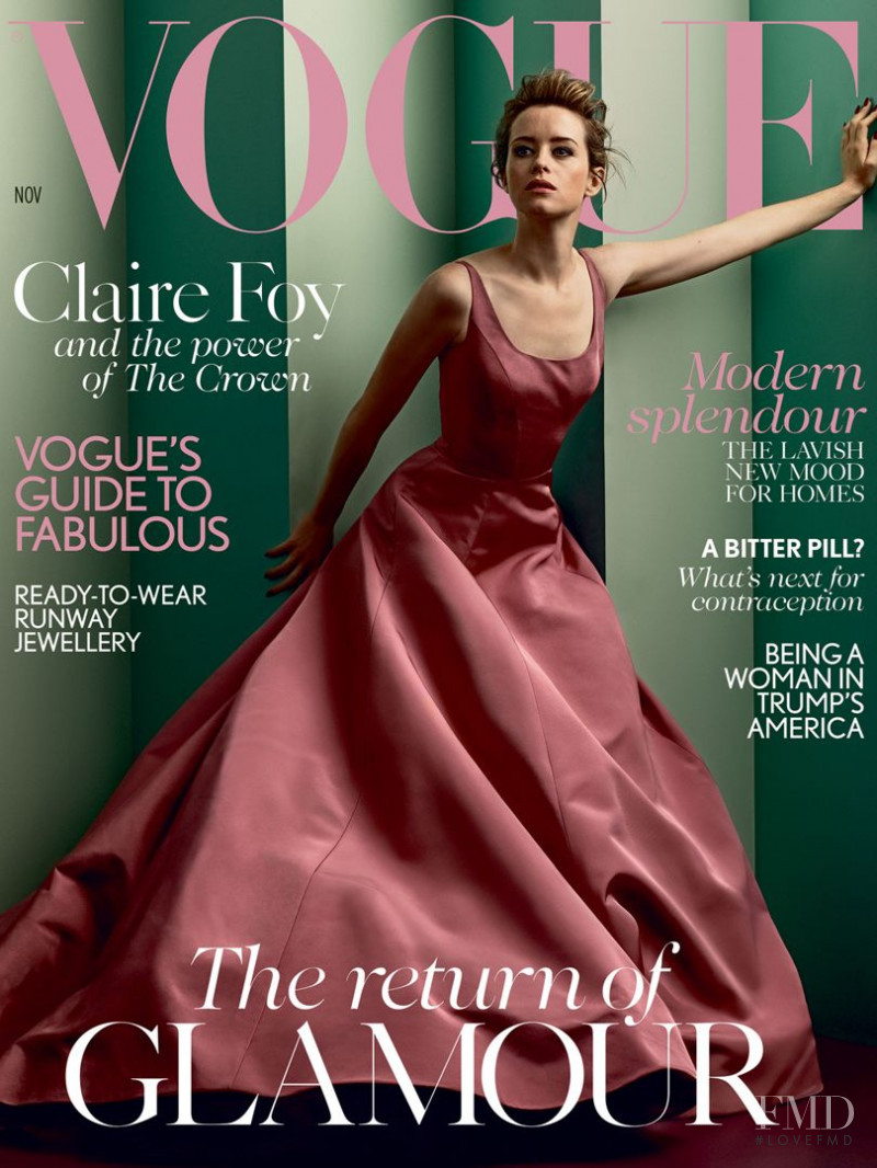 Claire Foy featured on the Vogue UK cover from November 2017