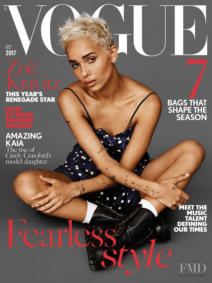 Zoe Kravitz featured on the Vogue UK cover from October 2017