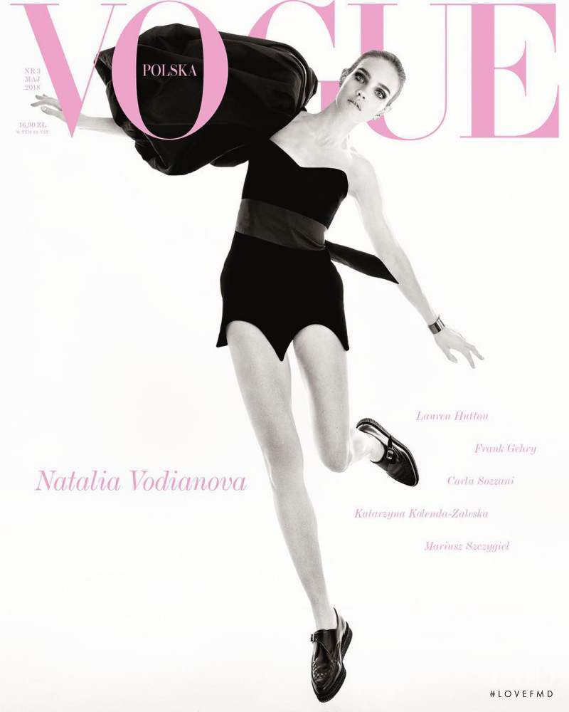 Natalia Vodianova featured on the Vogue Poland cover from May 2018