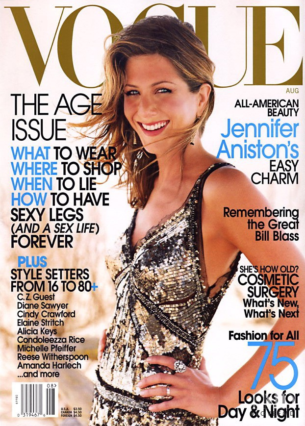 Jennifer Aniston featured on the Vogue USA cover from August 2002
