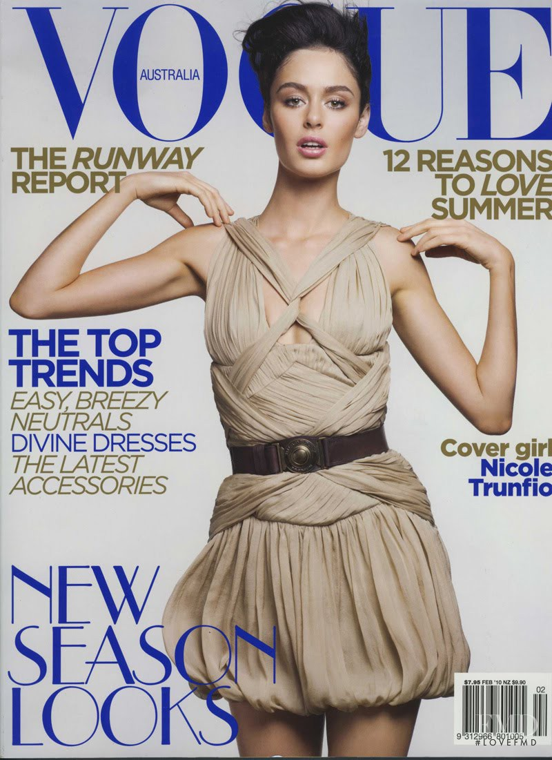 Nicole Trunfio featured on the Vogue Australia cover from February 2010