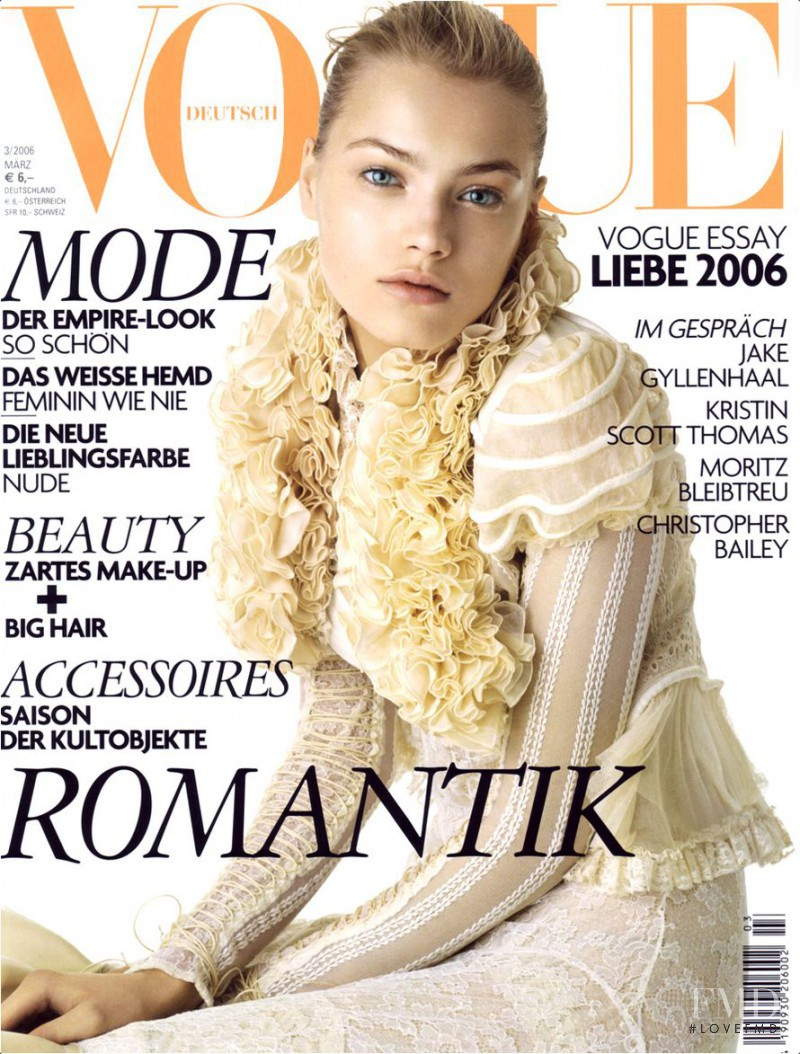 Anna Maria Jagodzinska featured on the Vogue Germany cover from March 2006