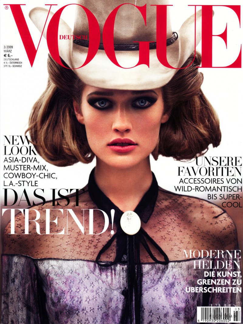 Toni Garrn featured on the Vogue Germany cover from March 2009