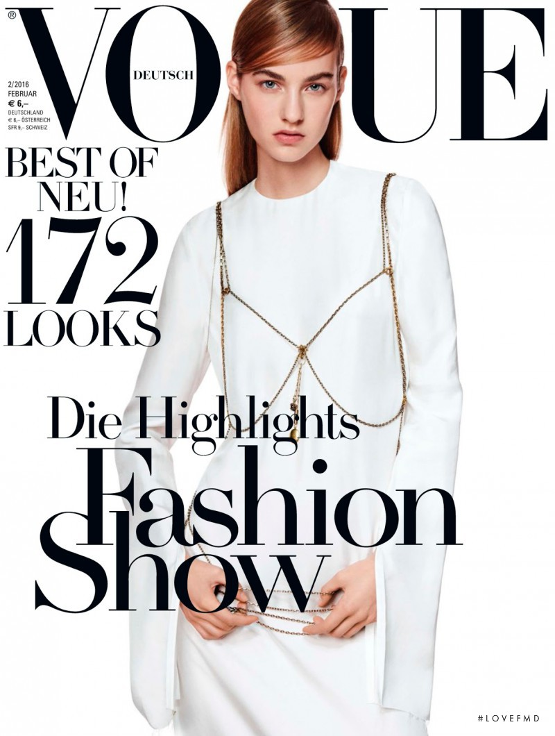 Maartje Verhoef featured on the Vogue Germany cover from February 2016