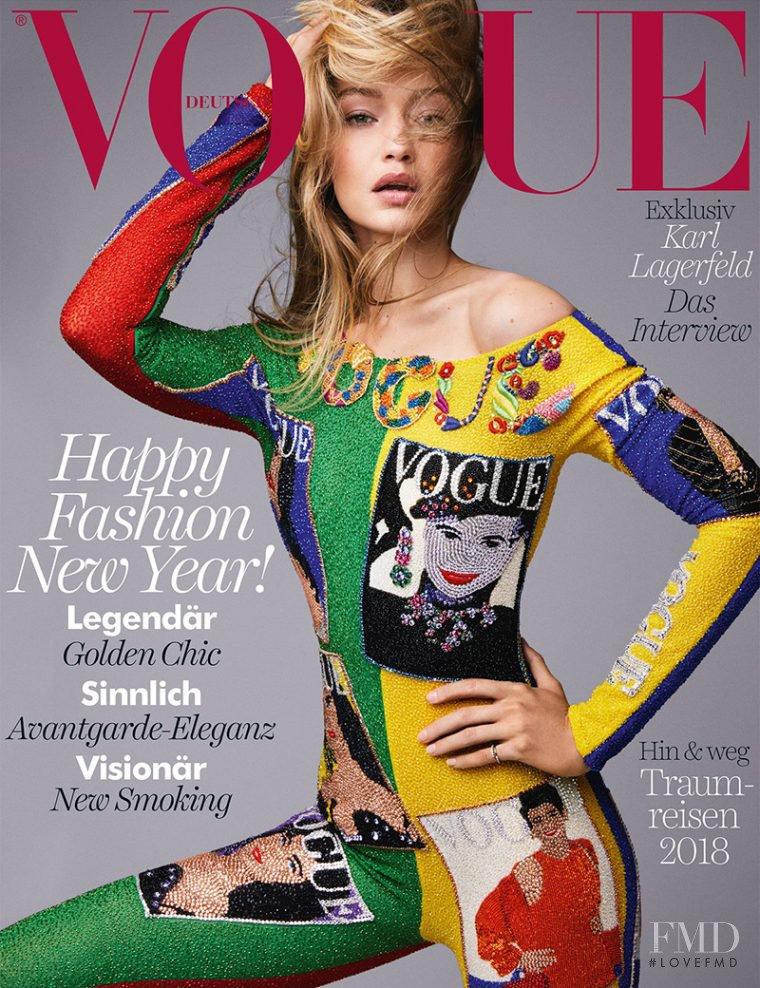 Gigi Hadid featured on the Vogue Germany cover from January 2018