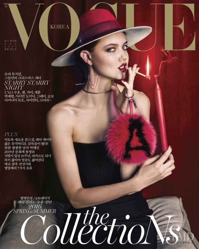 Lindsey Wixson featured on the Vogue Korea cover from December 2015
