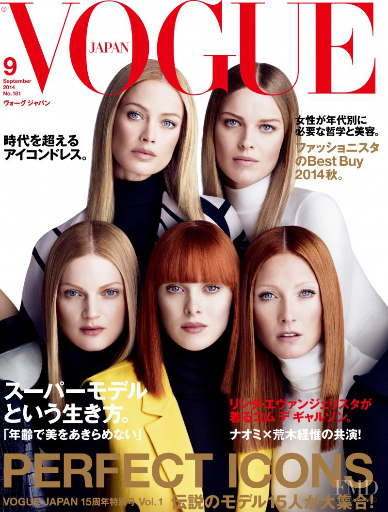 Carolyn Murphy, Eva Herzigova, Guinevere van Seenus, Karen Elson, Maggie Rizer featured on the Vogue Japan cover from September 2014