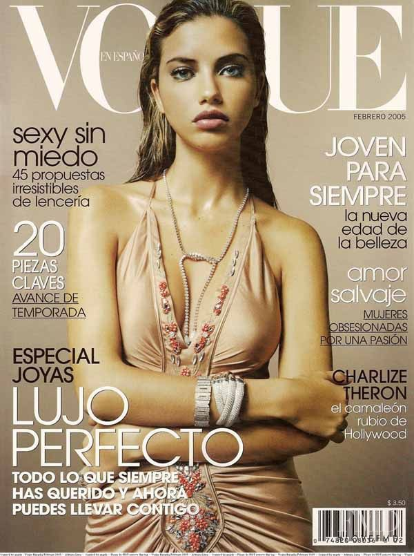 Adriana Lima featured on the Vogue Mexico cover from February 2005