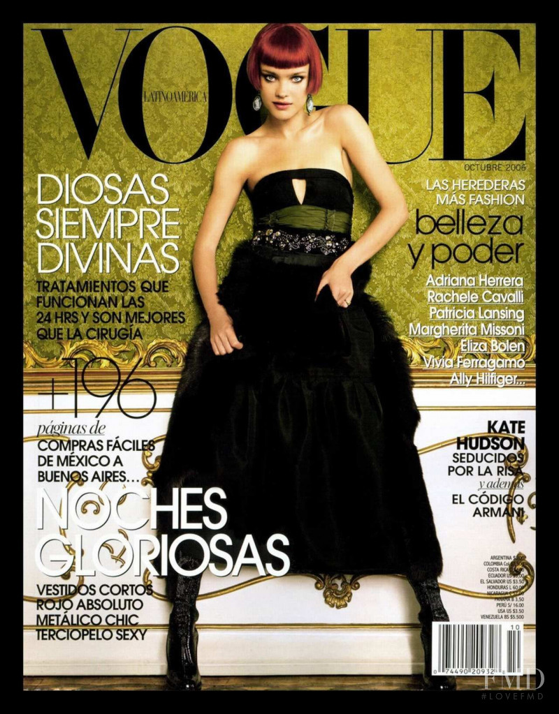 Natalia Vodianova featured on the Vogue Mexico cover from October 2006
