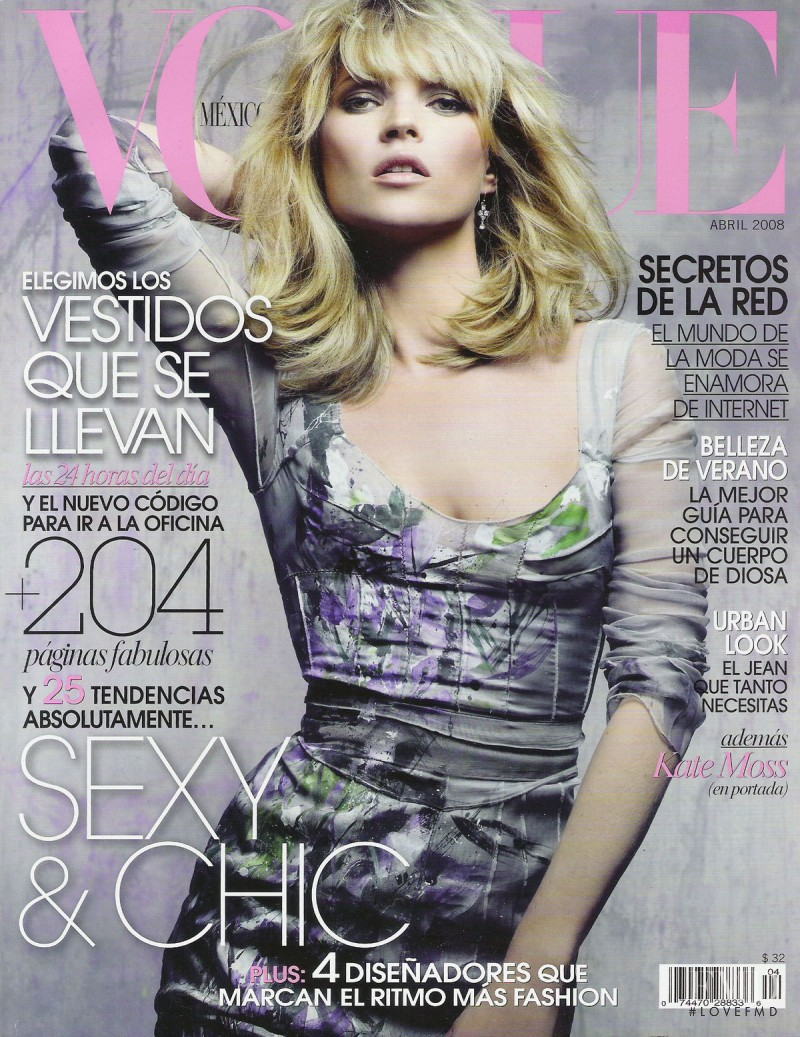 Kate Moss featured on the Vogue Mexico cover from April 2008