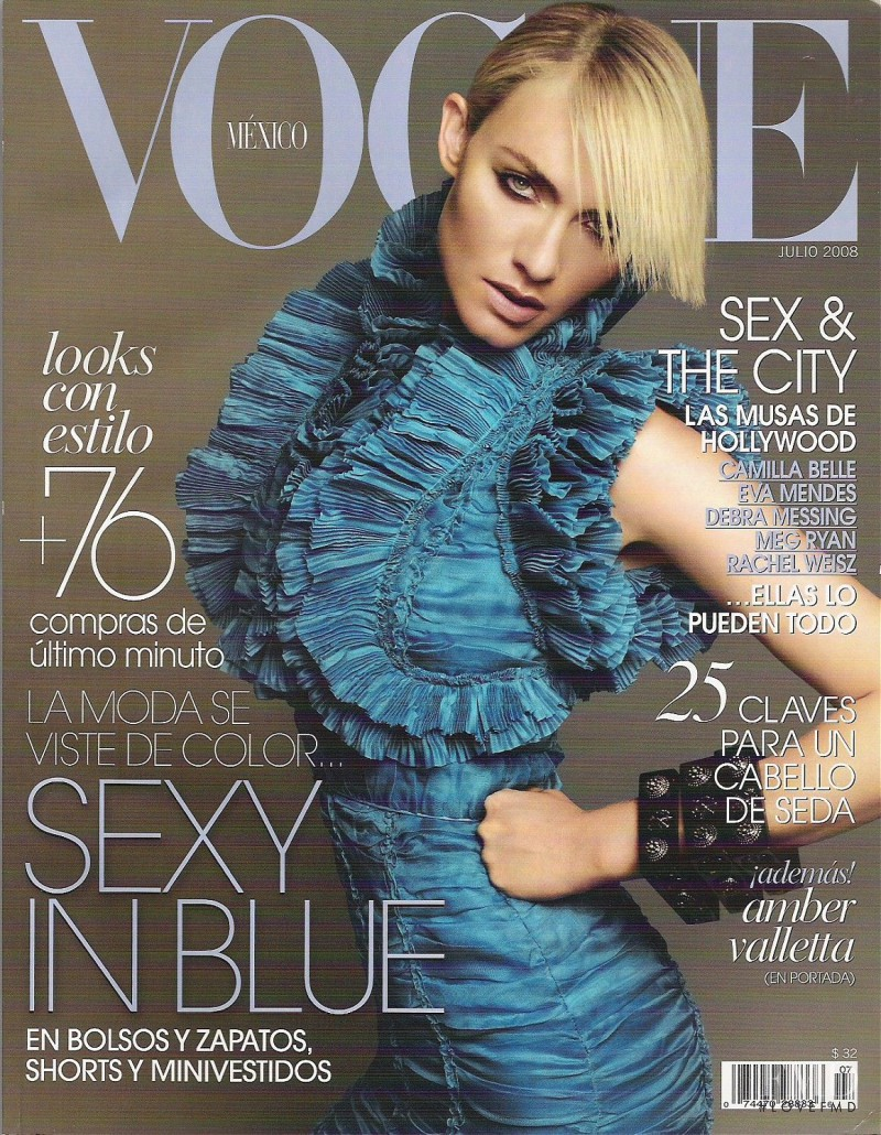 Amber Valletta featured on the Vogue Mexico cover from July 2008