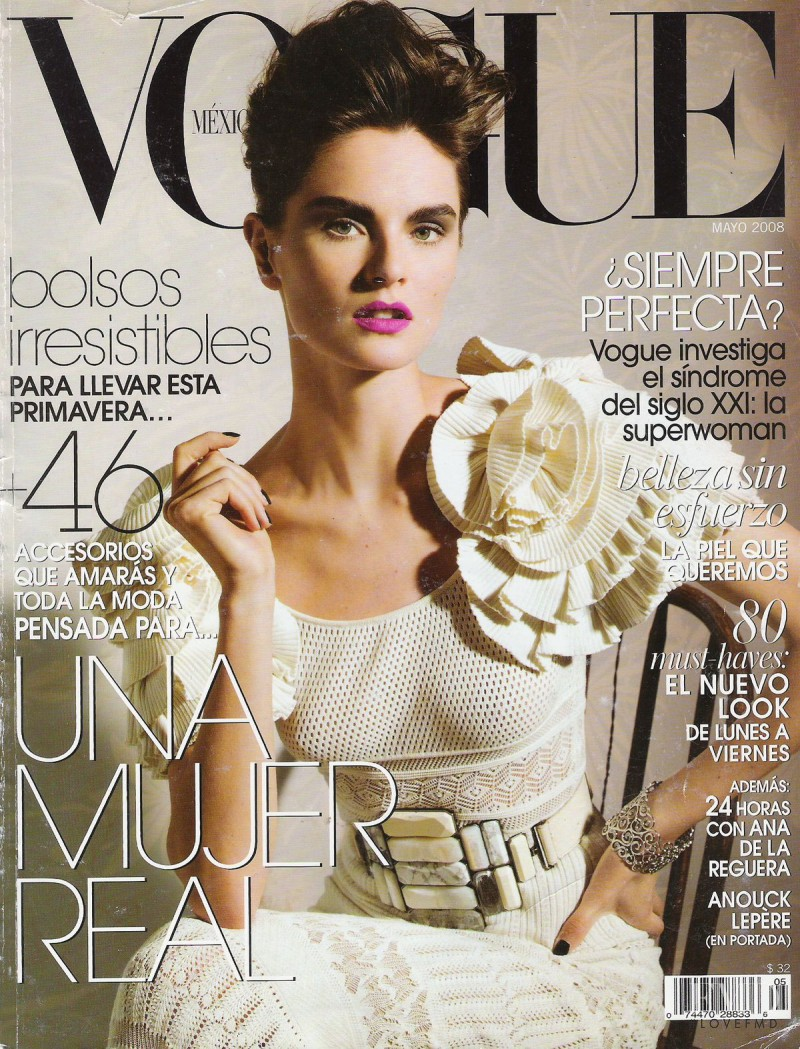 Anouck Lepère featured on the Vogue Mexico cover from May 2008