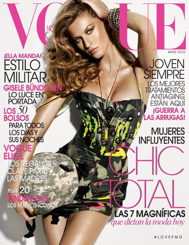 Gisele Bundchen featured on the Vogue Mexico cover from May 2010