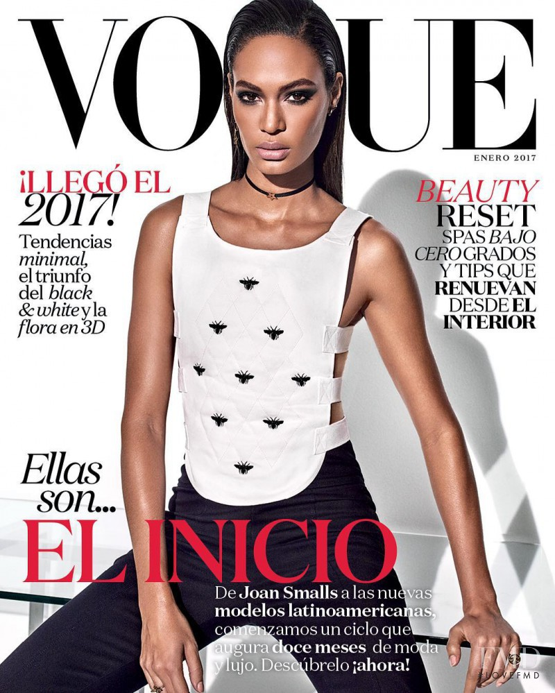Joan Smalls featured on the Vogue Mexico cover from January 2017