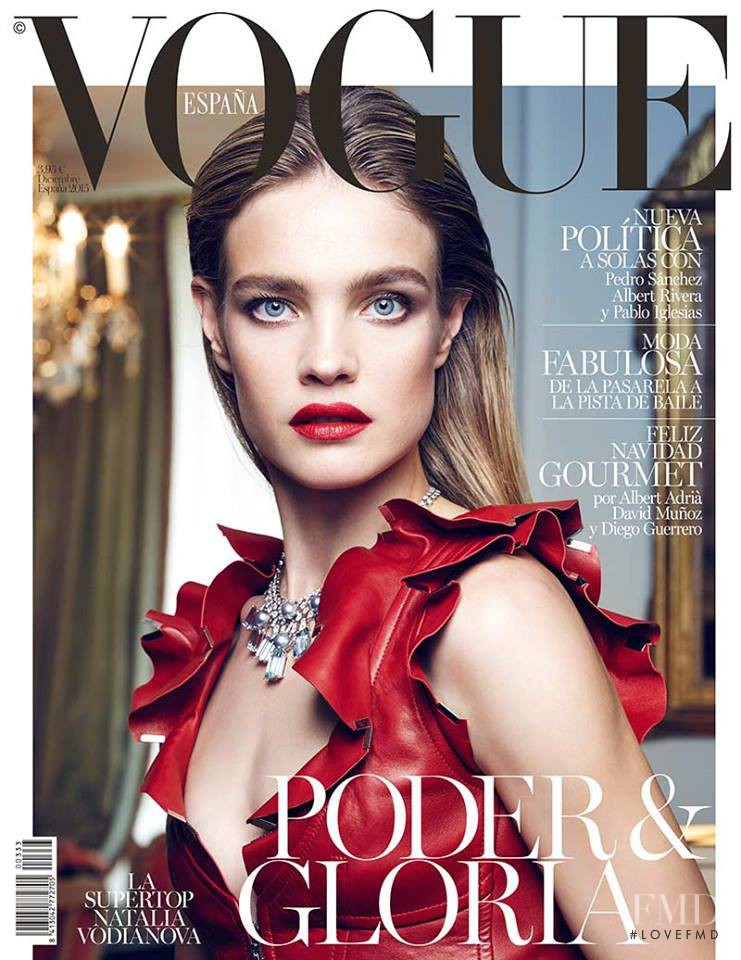 Natalia Vodianova featured on the Vogue Spain cover from December 2015