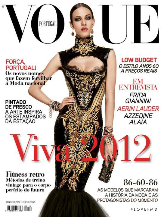 Aymeline Valade featured on the Vogue Portugal cover from January 2012
