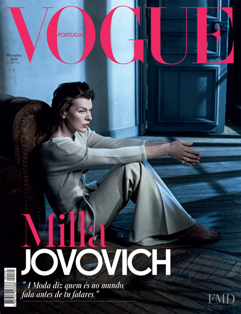 Milla Jovovich featured on the Vogue Portugal cover from December 2016