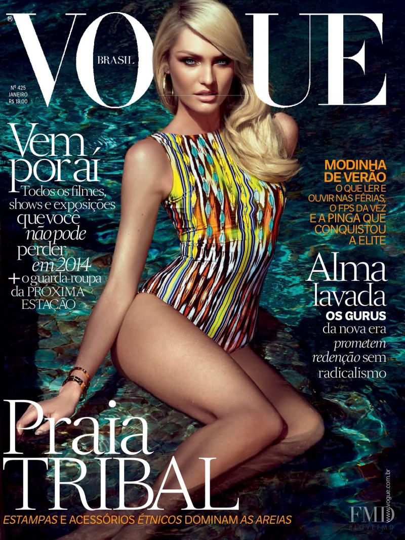 Candice Swanepoel featured on the Vogue Brazil cover from January 2014