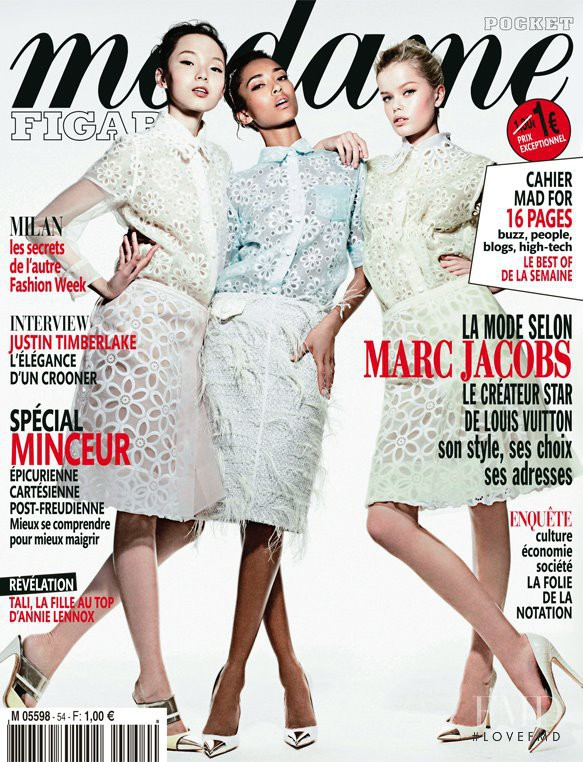 Anais Mali, Xiao Wen Ju, Frida Aasen featured on the Madame Figaro France cover from March 2012