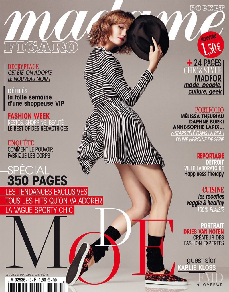 Karlie Kloss featured on the Madame Figaro France cover from March 2014
