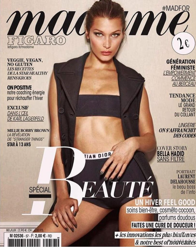Bella Hadid featured on the Madame Figaro France cover from October 2017