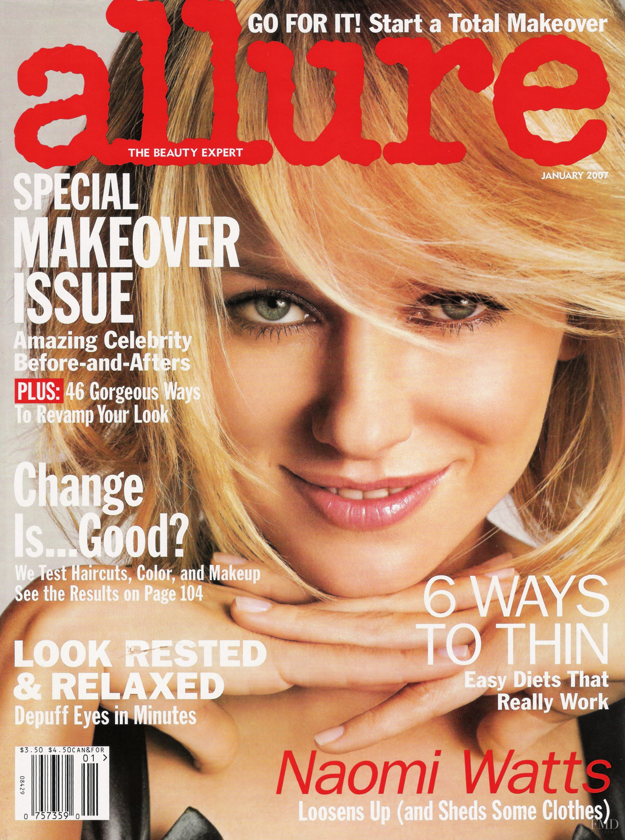 Cover Of Allure With Naomi Watts, January 2007 (ID:4763