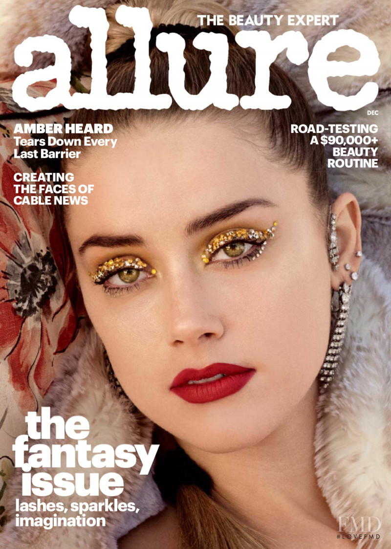 Amber Heard featured on the Allure cover from December 2017