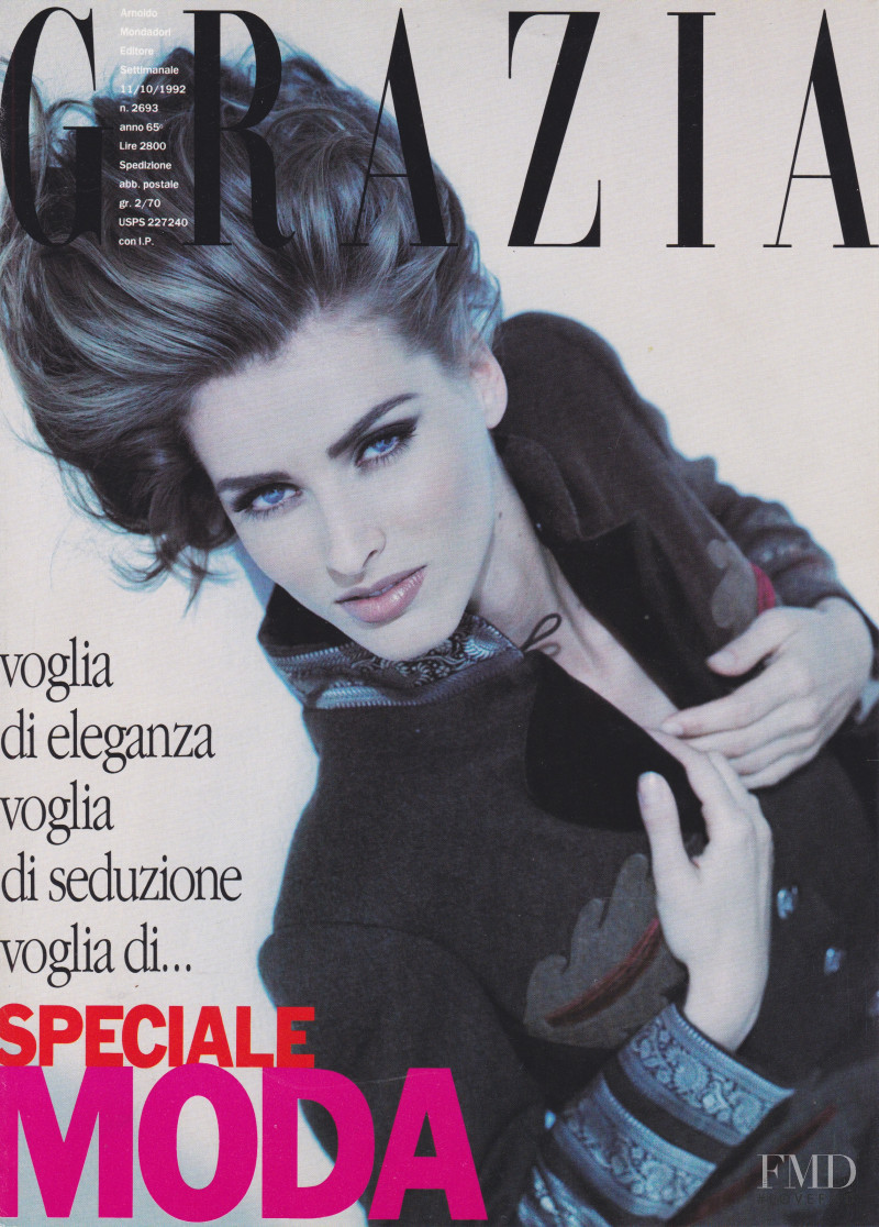 Cathy Fedoruk featured on the Grazia Italy cover from October 1992