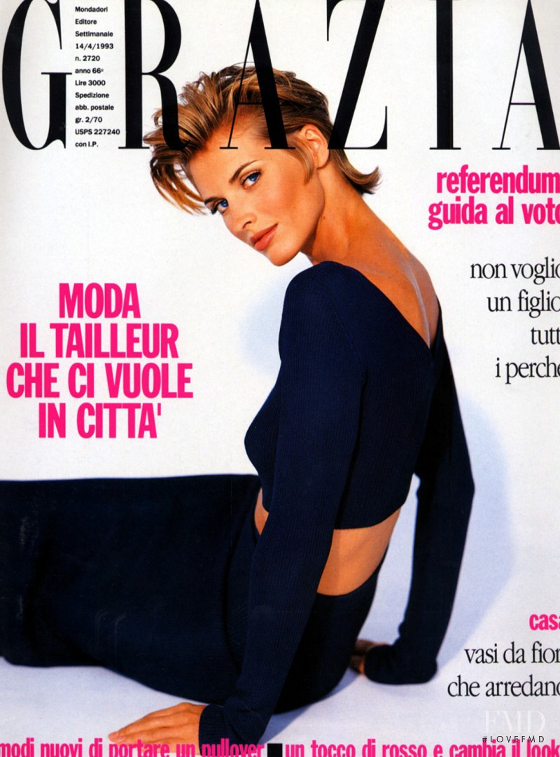 Cathy Fedoruk featured on the Grazia Italy cover from April 1993