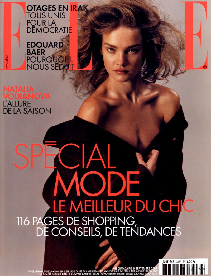 Natalia Vodianova featured on the Elle France cover from September 2004