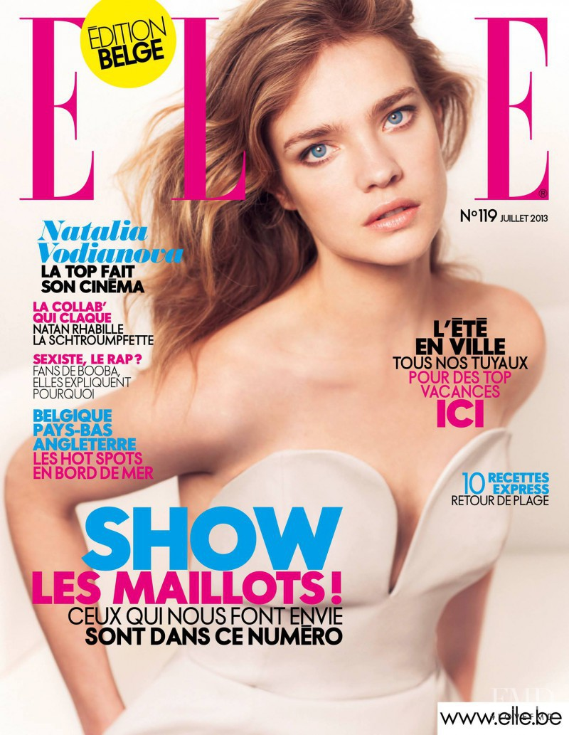 Natalia Vodianova featured on the Elle Belgium cover from July 2013