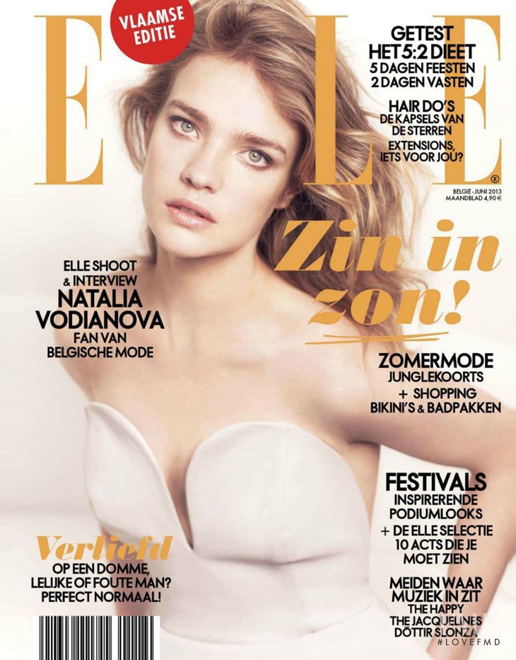 Natalia Vodianova featured on the Elle Belgium cover from June 2013