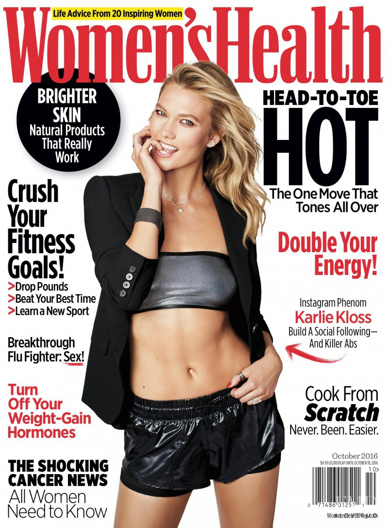 Karlie Kloss featured on the Women\'s Health cover from October 2016